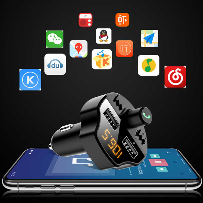 Xe Hơi Bluetooth 5.0 Bộ Phát FM Dual USB Sạc Nhanh LCD Không Dây Bluetooth Âm Nhạc Thu Âm Thanh Tự Động MP3 Người Chơi