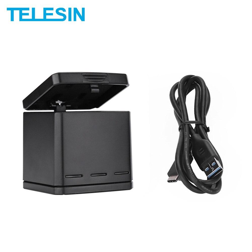 Caja de almacenamiento de transporte TELESIN Batería Cargador Adaptador para Gopro Hero 8 7 6 5 Nuevo