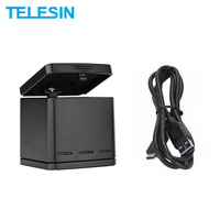 Telesin 3 slots multi função carregador de bateria de carregamento caso de armazenamento caixa de carregamento 2 em 1 para gopro hero 8 7 6 5 preto|batteries battery charger|charger batterybattery charger batteries -