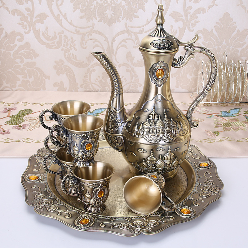 Bronze Sherbet Set Metal Zinc Alloy Sherbet Set 1 set= 1 Plate+ 1 Pot +6Cups For Flowers Patter Table Craft Home Decoration