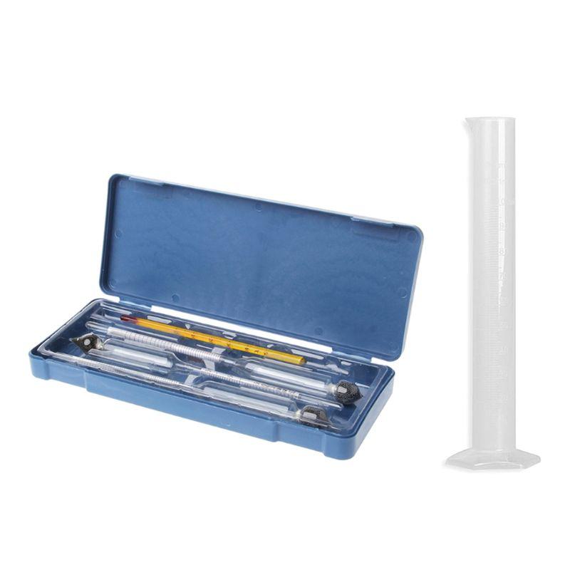 Hydrometer Tester Vintage Measuring Bottle Plastic Box Set Alcohol Meter Wine Concentration Meter Thermometer Alcohol Tools