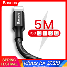 Baseus USB Cable For iPhone 11 Pro Xs Max Xr X 8 7 6 6s 5s se iPad Fast Charging Charger Data Wire Cord Mobile Phone Cable 3m 5m