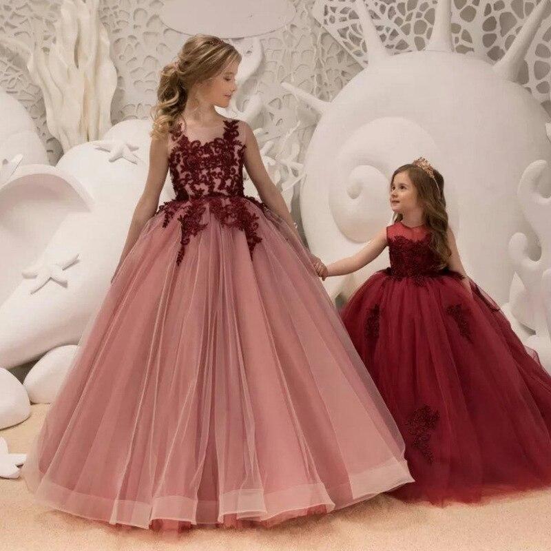 2019 New Style Girls Flower Embroidered Petal Mesh Skirt Big Boy Princess Puffy Formal Dress
