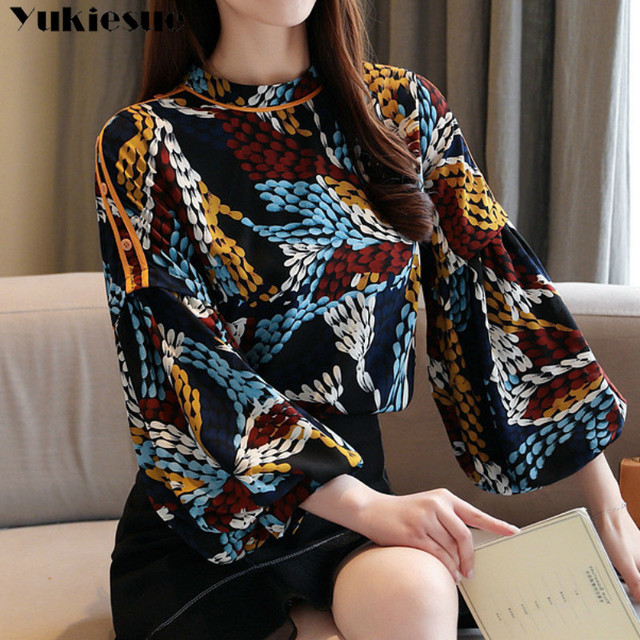 2020 summer long sleeve women's shirt blouse for women blusas womens tops and blouses printed shirts ladie's top plus size 1