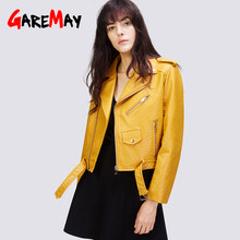 2019Autumn winter Short Faux Leather Jacket Women deri ceket Zipper Motorcycle PU Leather Jacket Ladies Basic Coat plus size(China)