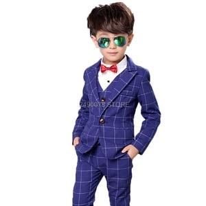 Flower Boys Formal Anzug Suit Kids Wedding Birthday Party Dress Jacket Vest Pants 3pcs Child Tuxedo Prom Performance Costume