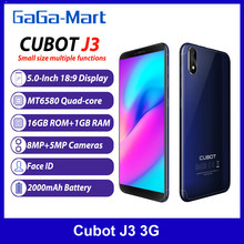 Cubot-teléfono inteligente J3 3G, identificación facial, 16GB ROM, 1GB RAM, procesador MT6580, Quad core, Pantalla Completa 18:9 de 5 pulgadas, cámara trasera de 8.0MP, batería de 2000mAh