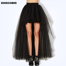 Summer Autumn Plus Size Black Skirts 2019 New Wire Yarn Swallow Tail Skirt Large Scale Sexy Floor Dragging Half-length Skirt