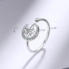 Foxanry 925 hecha a mano de plata esterlina anillos De Luna estrella de cristal anillos regalos de joyería para boda para mujeres tamaño 16mm ajustable