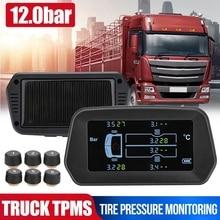 Sistema de supervisión de presión de neumáticos para camiones TPMS, Solar, inalámbrico, alarma de temperatura de neumáticos de 12 bar con 6 sensores externos