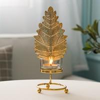 شمعدان ورقة الشجر حامل الشمع على الطاولة ديكور و اكسسوارات