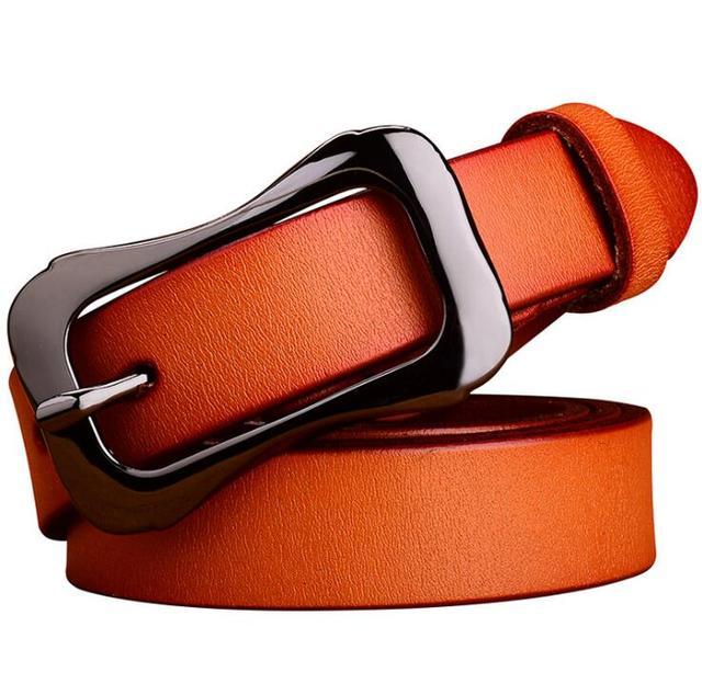 Fashion Women Genuine Cowskin Leather Belt Skinny Slide Buckle Narrow Waistband