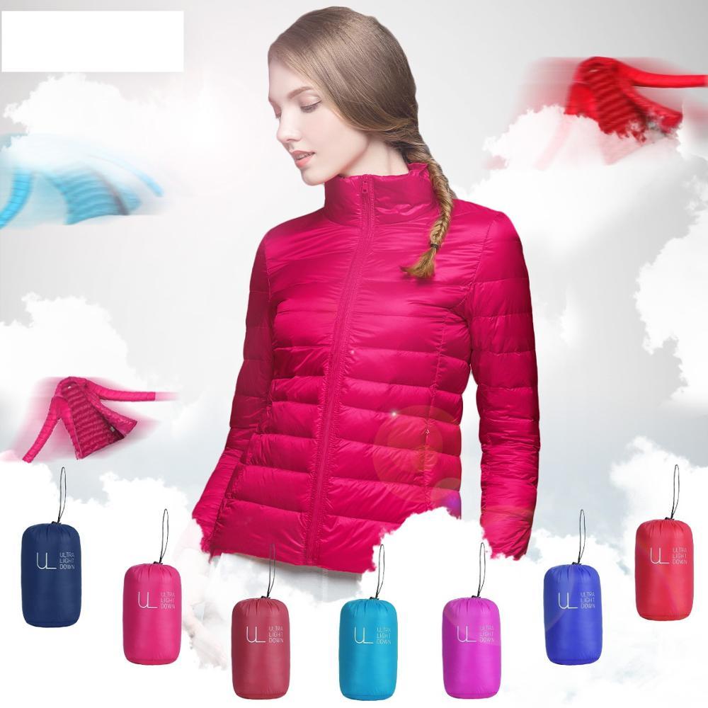 Ultra Winter Women Light Down Jacket 90% White Duck Down Jackets Long Sleeve Solid Portable Light Down Coat Short Tops Plus Size