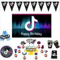 Tik Voice Note тема одноразовые вечерние бумажный стаканчик, тарелка посуда декоративный латексный шар Tok торт Топпер День Рождения вечерние