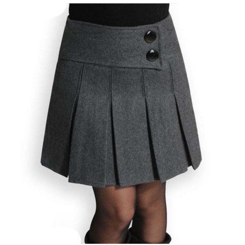 New 2019 Autumn Winter Skirt Women Wool Short Skirt High Waist Pleated Skirt Sexy Black Gray Woolen Skirts For Women S429