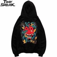 2019 Hip Hop Hoodie kazak erkekler yılan hayalet Hoodie Kanji baskılı Harajuku Streetwear Hoodie kazak pamuk sonbahar siyah üstleri