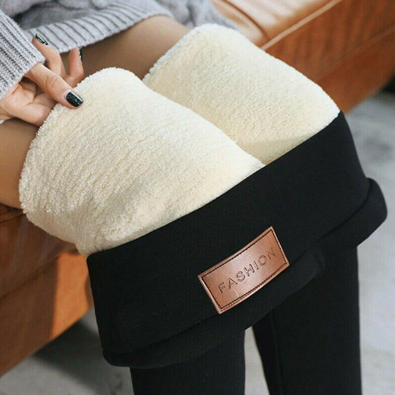 Women Thick Fleece Wool Black Thermal Pants New Leggings Autumn Winter Plus Velvet Leggings Warm Trousers