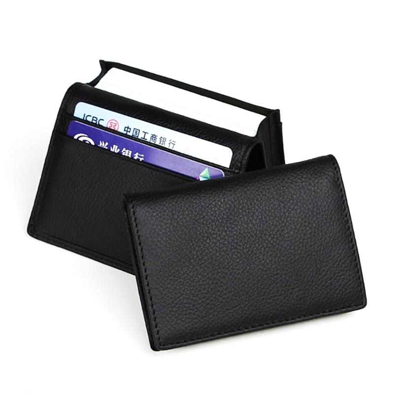 Men Black Leather Expandable Credit Card ID Business Cards Holder Wallet Case M6CC