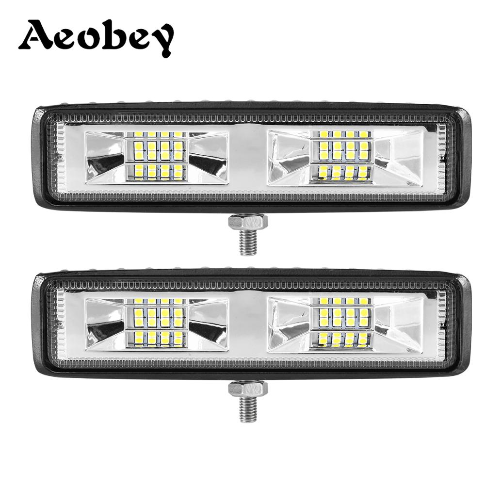 Aeobey Slim LED Light Bar 18w 48w 42w 54w Work Light For SUV 4x4 Offroad 12V 24V Led Work Light Trucks SUV Accessories Fog Lamp