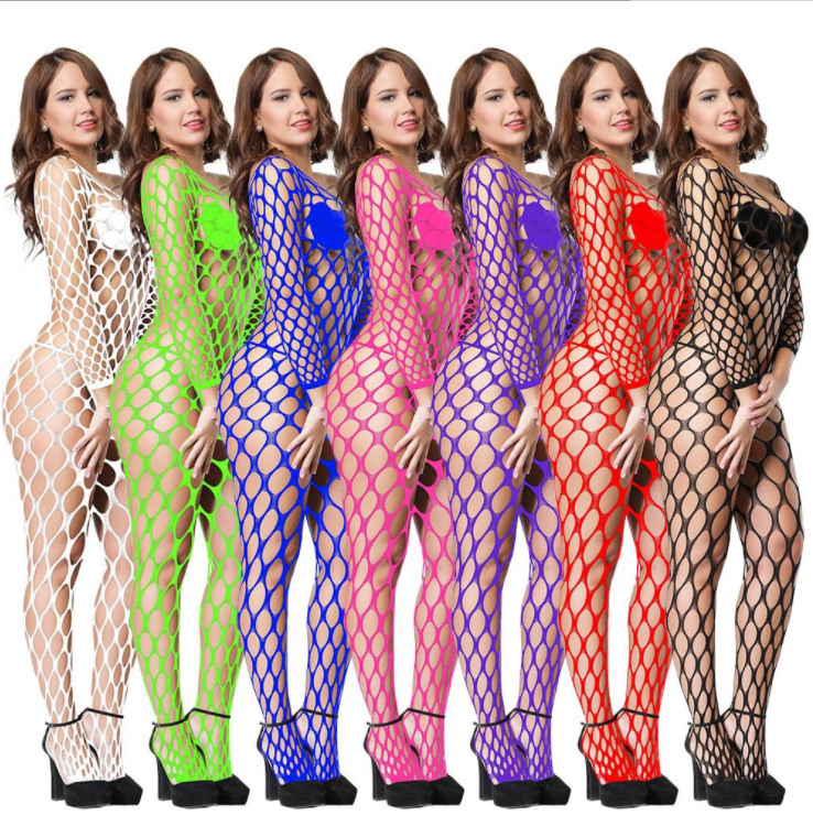 Woman Sexy Big Hole Fishnet Patterns  Crotchless Long Sleeve Bodystocking