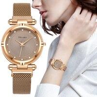 Luxus Kreative diamant Zifferblatt Frauen Uhren Mode Rose Gold Magnet Schnalle Damen Quarz Armbanduhren Einfache Weibliche Uhr Geschenke