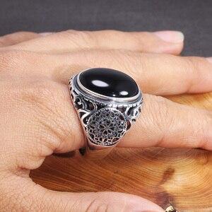 Image 5 - Naprawdę twarde 925 Sterling Silver czarny pierścień mężczyźni Vintage wydrążone kwiaty pierścienie otwarty naturalny onyks kamień duży owalny kształt biżuteria męska