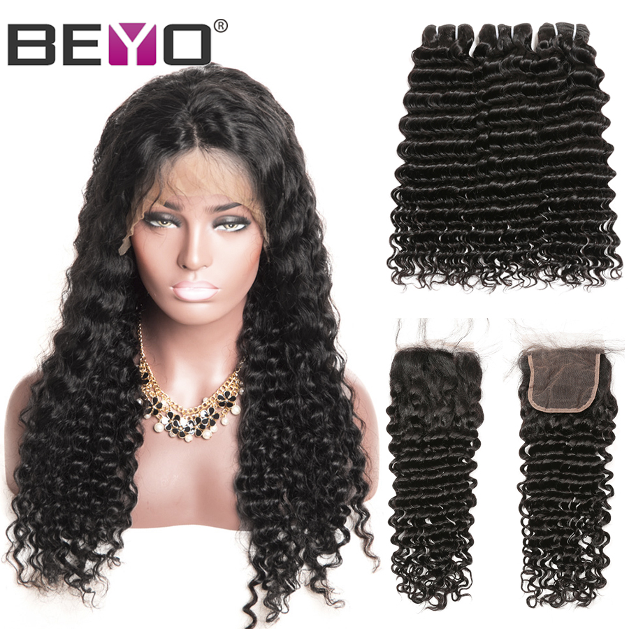 Brazilian Deep Wave Wig 300% Density Free Customized Wig By Remy Hair Bundles With Closure Beyo 4X4 Closure Wig 100% Human Hair