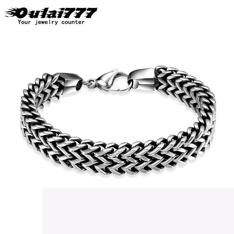 Oulai777 men bracelet 2019 stainless steel link chain on hand men accessories charm male bracelets bangles men's rock style punk