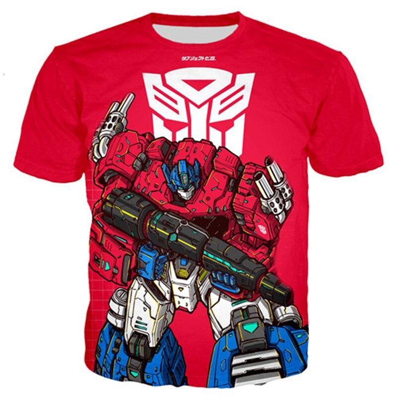 Летние детские футболки детская футболка для мальчиков с короткими рукавами с изображением робота-трансформации футболки для мальчиков