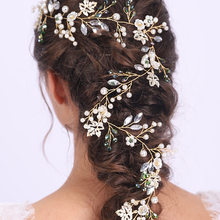 Gold Dignity Flower Leaves Vintage Headwear Long Headdress Wedding Bridal Hair Vine Banquet