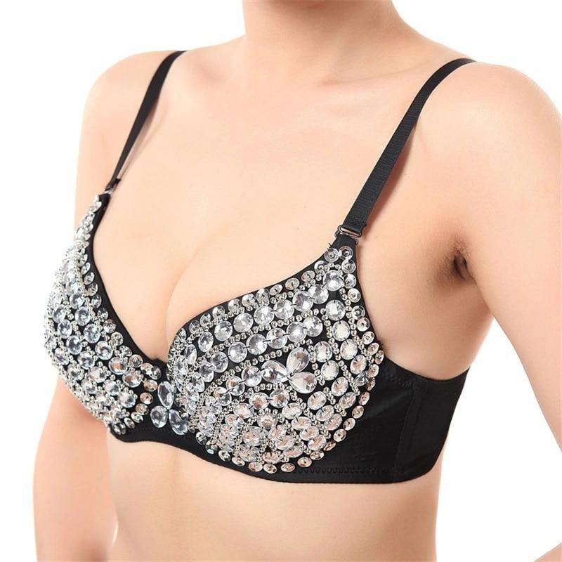 Women's Sexy All-over Rhinestone Bra Underwear Metallic Punk Style Clubwear Stripper Wear Silver Gold Color