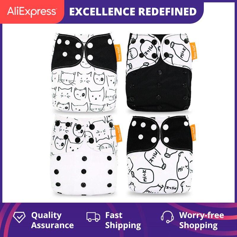 Diapers-Cover Nappy Cloth-Pocket Washable Baby Denim Fit 3-15kg 4pcs/Set