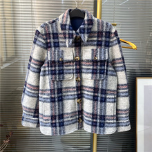 New 2019 Autumn winter womens plaid jackets Chic women loose coat A878