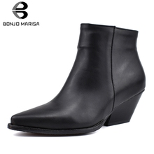 цена на BONJOMARISA 34-48 Brand Designer Black Booties Lady Pointed Toe Add Fur Ankle Boots Women 2019 Winter Warm Med Heels Shoes Woman