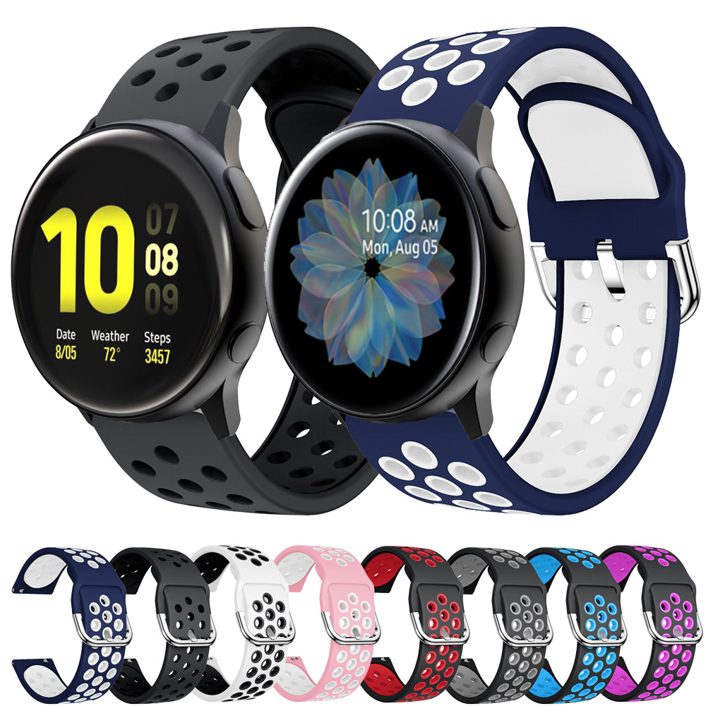 For Samsung Galaxy Watch Active 2 40mm 44mm Silicone Watchband Active2 20mm Watch Strap Sport Bracelet For Galaxy Watch 42mm S2