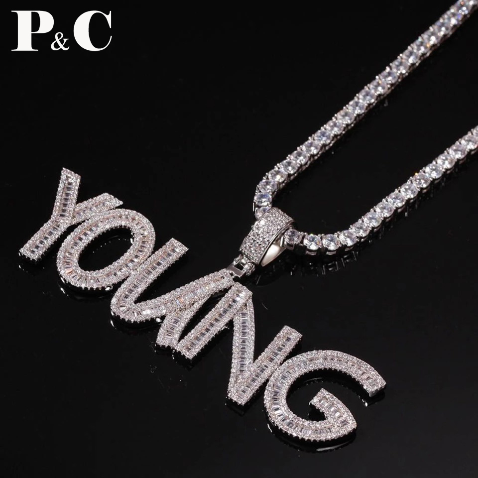 Custom Name Baguette Letters Hip Hop Iced Out Pendant With Tennis Chain Gold Silver Bling Zirconia Men's Hip Hop Charm Gift