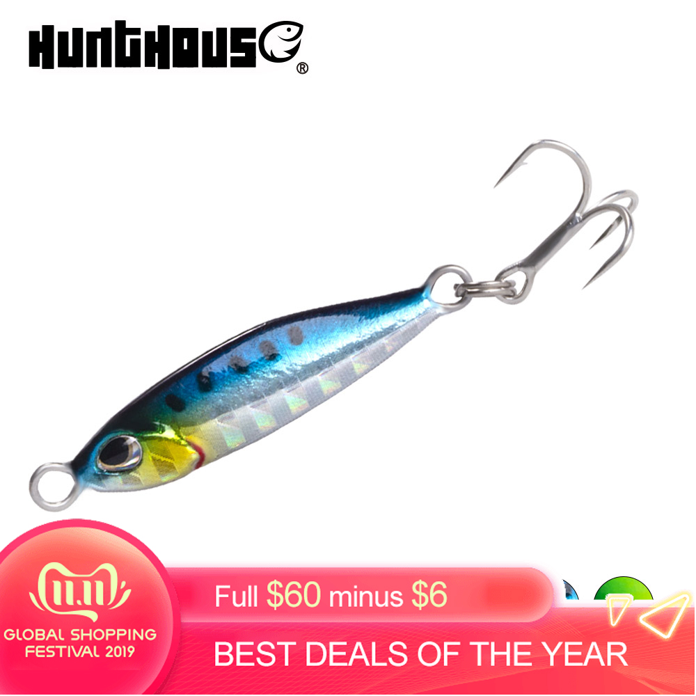 hunthouse metal micro jig fishing lures casting lead jig pesca leurres rock fishing 5g 7g 10g 15g 20g for sea bass