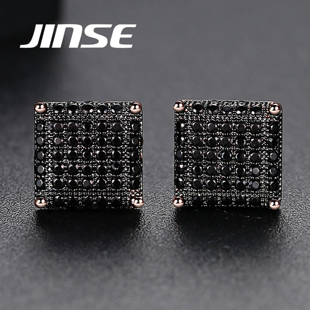 JINSE 10mm Square Black Cubic Zirconia Mens Iced Stud Earring For Men Women Crystal Gold Color Earring Hiphop Jewelry Brincos