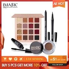 IMAGIC Eyes Daily Makeup 4PCS 16 Colors  Eyeshadow Palette Black Eyeliner  Pen Mascara and Eyebrow Cream