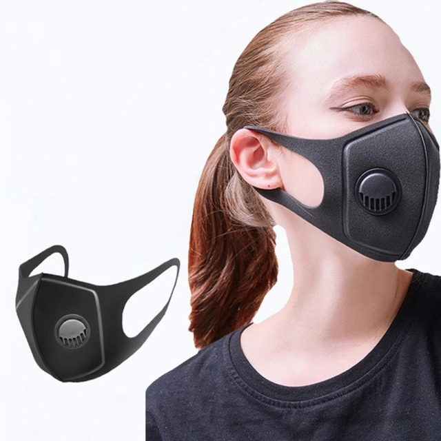 1pc Unisex Black Anti Dust Mask PM2.5 Breathing Filter Valve Face Mouth Masks Reusable Mouth Cover Haze Respirator