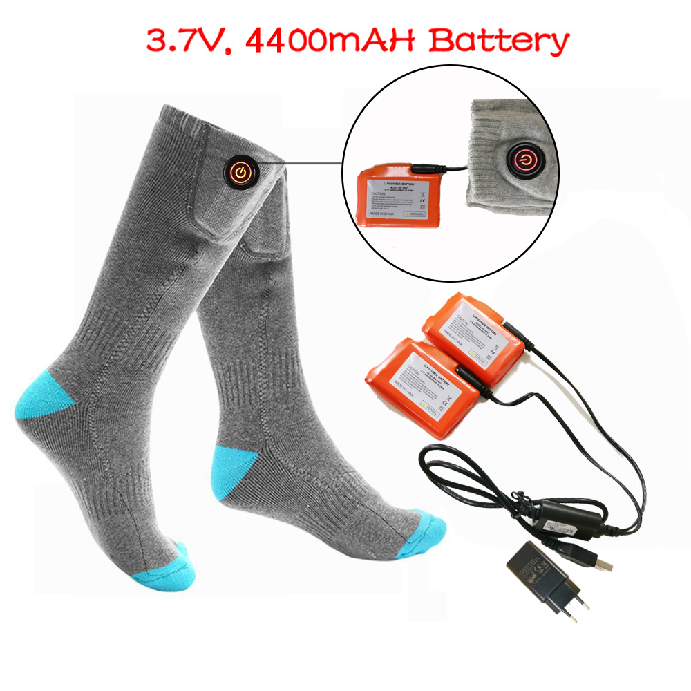 Winter Warm Heated Socks <font><b>3.7V</b></font> <font><b>4400mAh</b></font> Rechargable <font><b>Battery</b></font> Heating socks For Men and Women Skiing Hiking Hunting Cycling Riding image