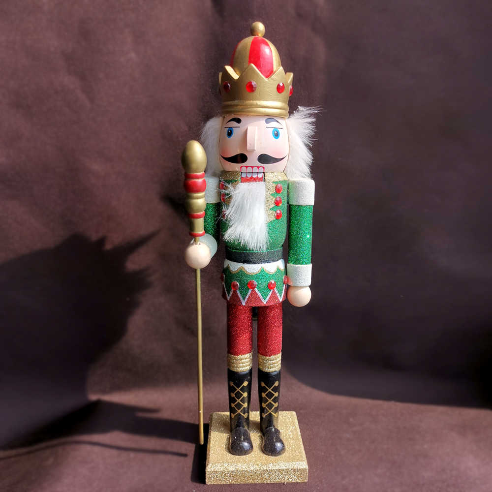 38cm Wooden Nutcracker Doll Prince Handcraft Decoration Christmas Gifts Toy