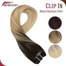 Klips do włosów Moresoo w maszynie Remy brazylijski spinki do włosów ludzkich w podwójne pasma naturalne z nakładką do prostowania na doczepy z ludzkich włosów