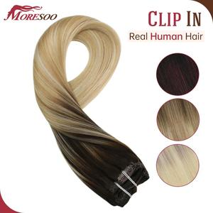 Image 1 - Moresoo Hair Clip in Machine Remy Brazilian Human Hair Clips in Double Weft Natural Straight Clip on Human Hair Extensions