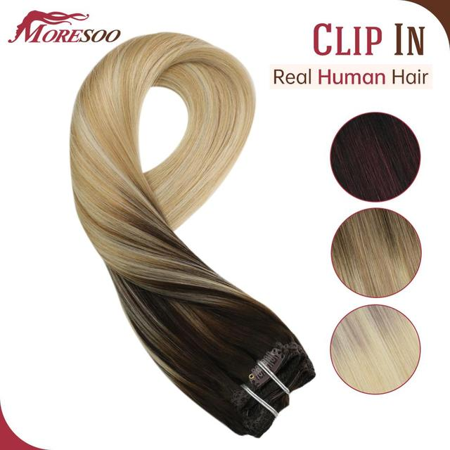 Moresoo Hair Clip in Machine Remy Brazilian Human Hair Clips in Double Weft Natural Straight Clip on Human Hair Extensions