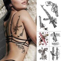 Waterproof Temporary Tattoo Sticker Sexy Lace Rose Tattoos Crown Ribbon Gun Body Art Arm Fake Tatoo Women Men