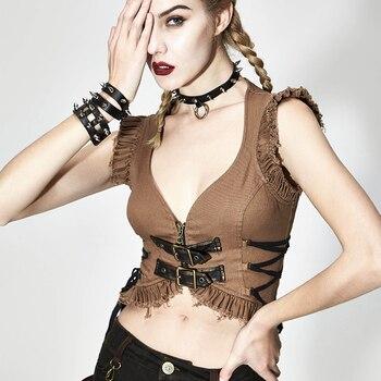 Devil Fashion Women's Punk Rock Sleeveless Short Waistcoat Steampunk Low Collar Daily Casual Summer Cardigan Camis