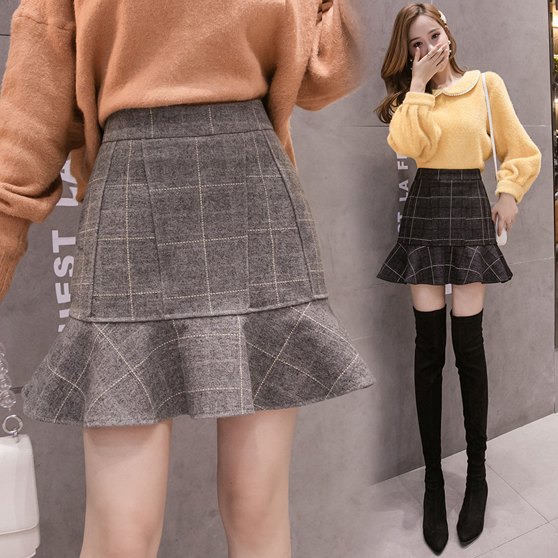 Photo Shoot 1963 # Plaid Woolen Skirt Women's 2019 Anti-Exposure High-waisted Slimming Flounced Fishtail Skirt