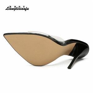Image 4 - LLXF pantofle zapatos mujer US15 16 17 lato szpilki buty kobieta 13cm cienkie obcasy sandały klasyczne ślubne z lakierowanej skóry pompy