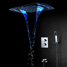 LED Light Shower Head 580*380mm Waterfall Rainfall Showerhead Thermostatic Shower Faucets Mixer Ceiling Mounted Shower Sets цены